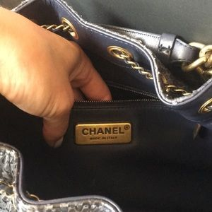 CHANEL Bags - Chanel drawstring bag, navy color, real python